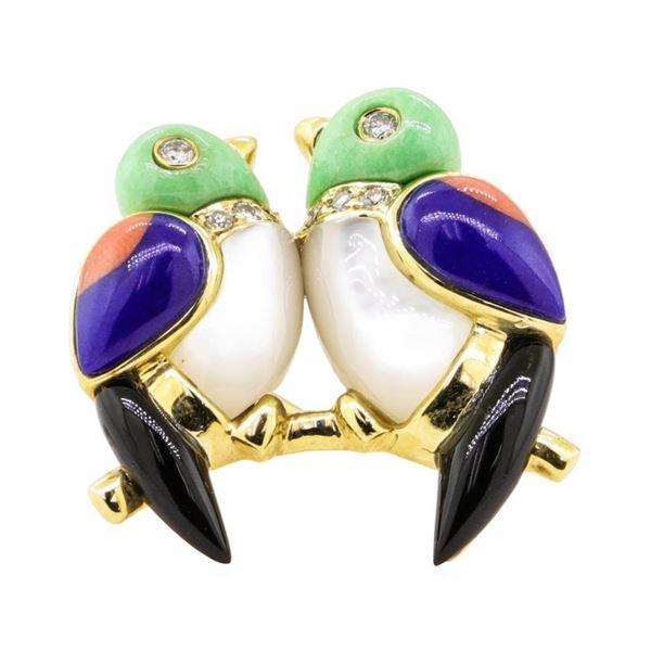 0.12 ctw Diamond and Multi-Colored Gemstone Lovebird Pin - 14KT Yellow Gold