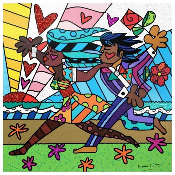 """Romero Britto, """"Amore Mio"""" Hand Signed Giclee on Canvas; Authenticated"""