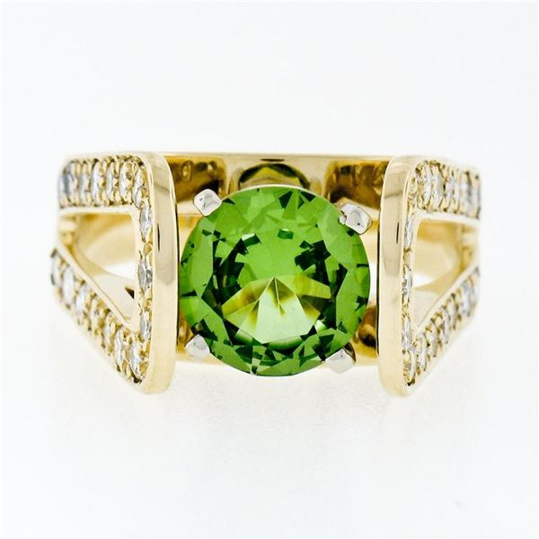 14k Yellow Gold 3.0 ctw Round Peridot Solitaire & Ideal Cut Diamond Cocktail Rin