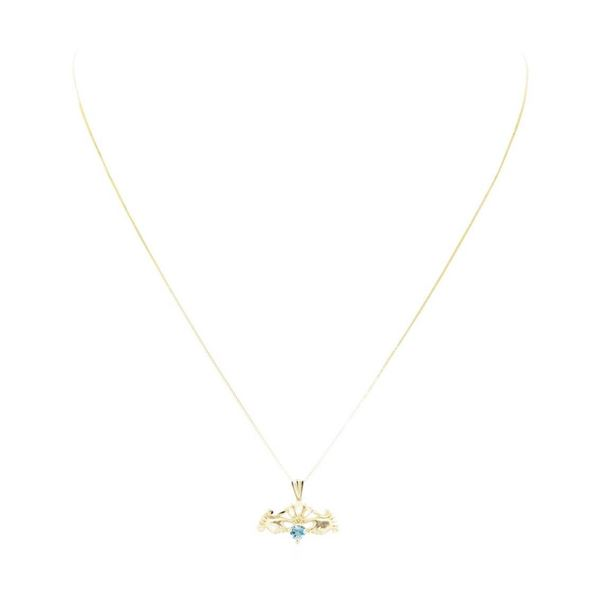 0.25 ctw Blue Topaz Claddagh Pendant with Chain - 14KT Yellow Gold