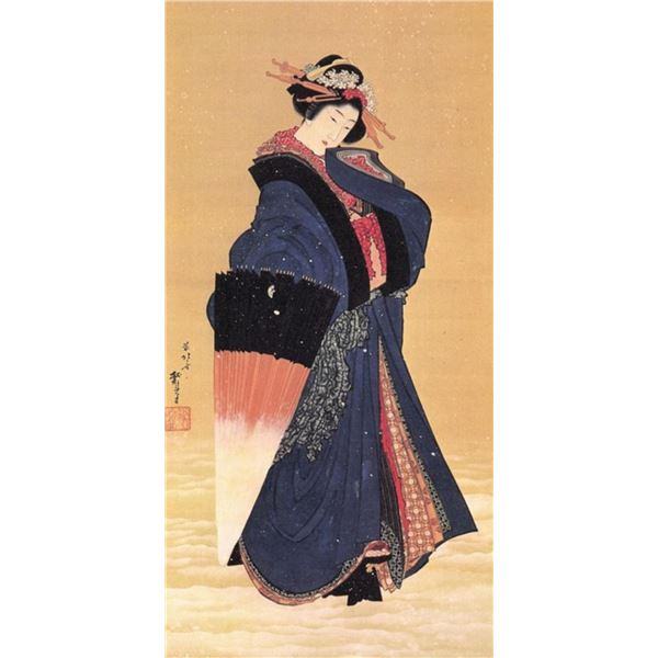 Hokusai - Beauty with Umbrella in the Snow