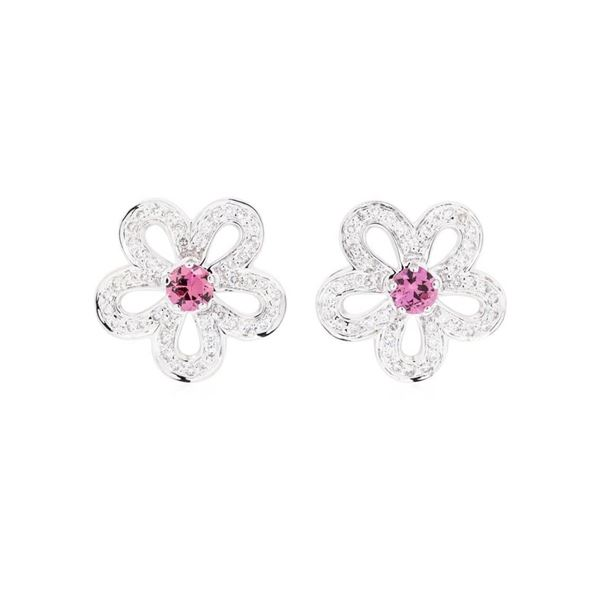1.67 ctw Round Mixed Pink Sapphires And Round Brilliant Cut Diamond Earrings - 1