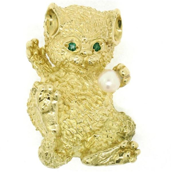 LARGE Detailed Textured 18K Gold Pearl & Emerald Playful Kitten Cat Brooch Pin