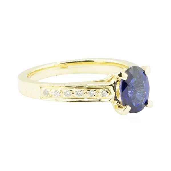 1.74 ctw Blue Sapphire and Diamond Ring - 14KT Yellow Gold
