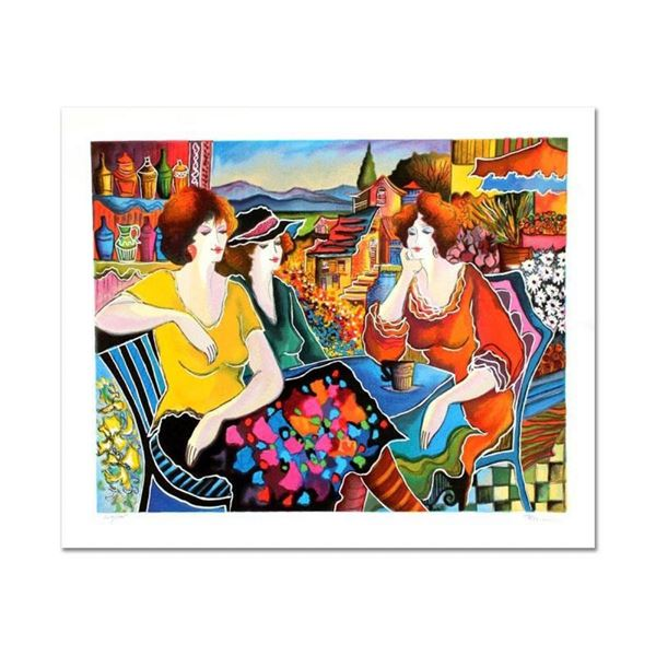 """Patricia Govezensky, """"Girl Talk"""" Hand Signed Limited Edition Serigraph with Lett"""