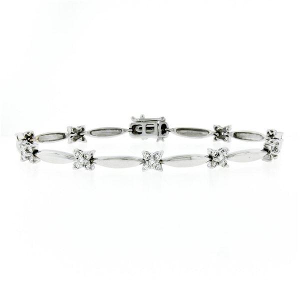 "18K White Gold 7"" 1.50 ctw Floral Diamond Cluster & Marquise Bar Link Bracelet"
