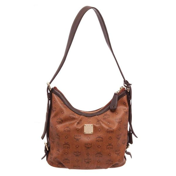 MCM Brown Canvas Hobo Bag