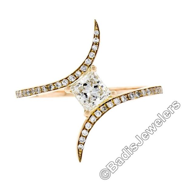 18kt Rose Gold 0.60 ctw Princess and Round Diamond Bypass Ring