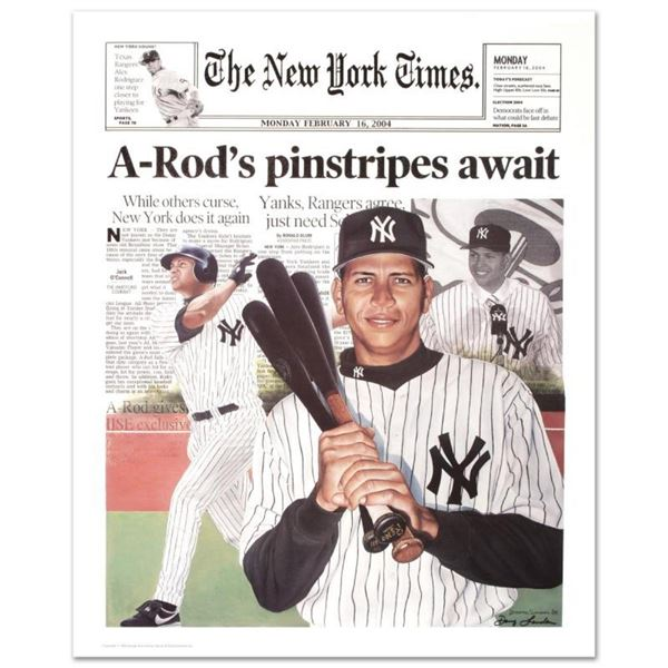 "Doug London - ""A-Rod (New York Times)"" Hand-Signed Fine Art Poster (2004)."