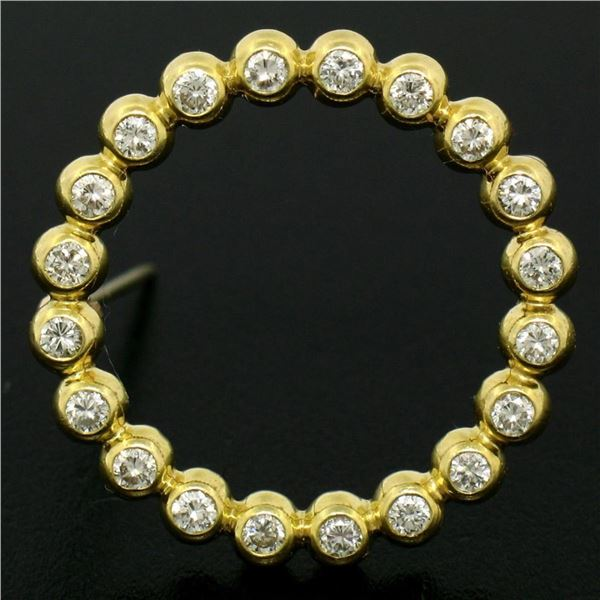 18k Yellow Gold .60 ctw 20 Bezel Set Round Diamond Circle of Life Pin Brooch 23m