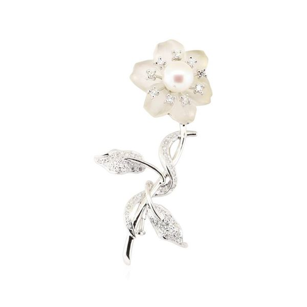 0.53 ctw Diamond and Pearl Flower Pin - 18KT White Gold