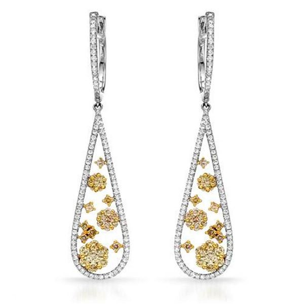 18k White Gold 1.86CTW Diamond Earrings, (SI1-SI2/VS2-SI1/G-H)