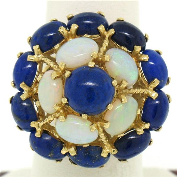 14k Yellow Gold Opal & Lapis Flower Cluster Dome Cocktail Ring
