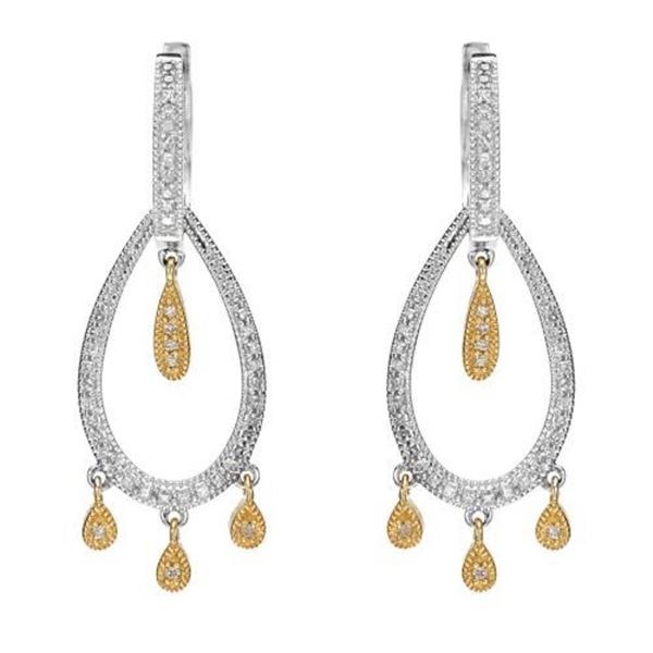 14k Two Tone Gold 0.50 ctw Diamond Earrings, (I1-I2/H)