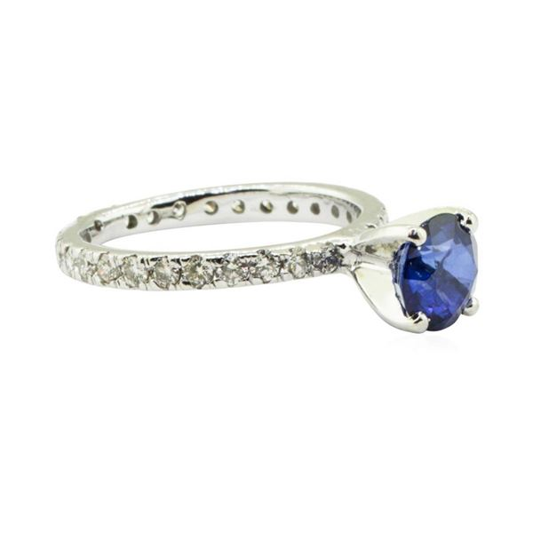 1.91 ctw Blue Sapphire and Diamond Ring - 14KT White Gold