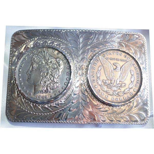silver engraved belt buckle