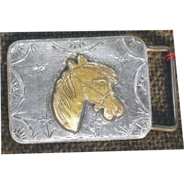 1960 silver belt buckle by Rankin Crow