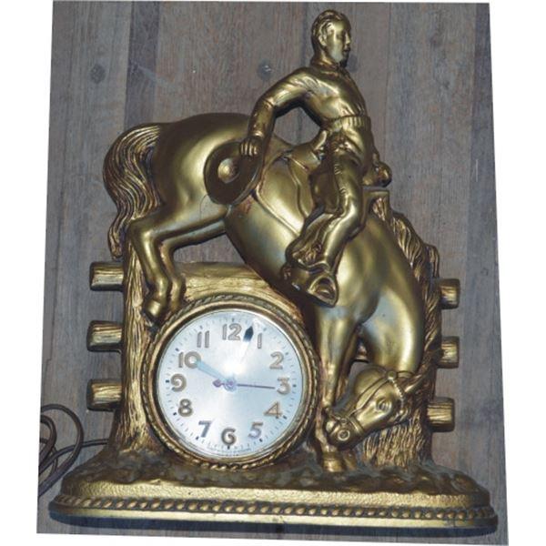 bronze bucking horse clock