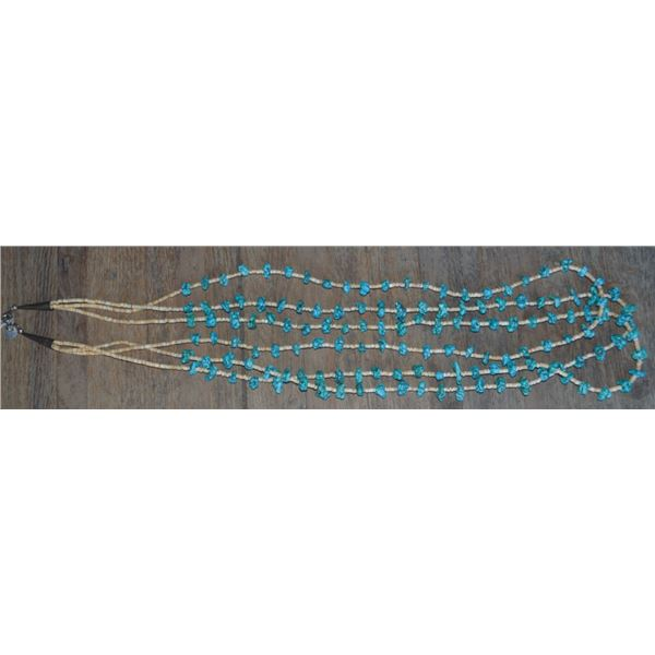 south west turquoise and heishe beaded necklace