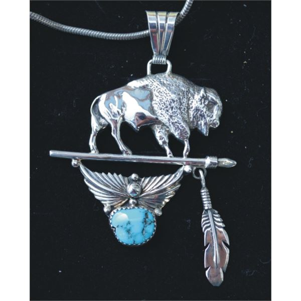 buffalo silver and turquoise pennant