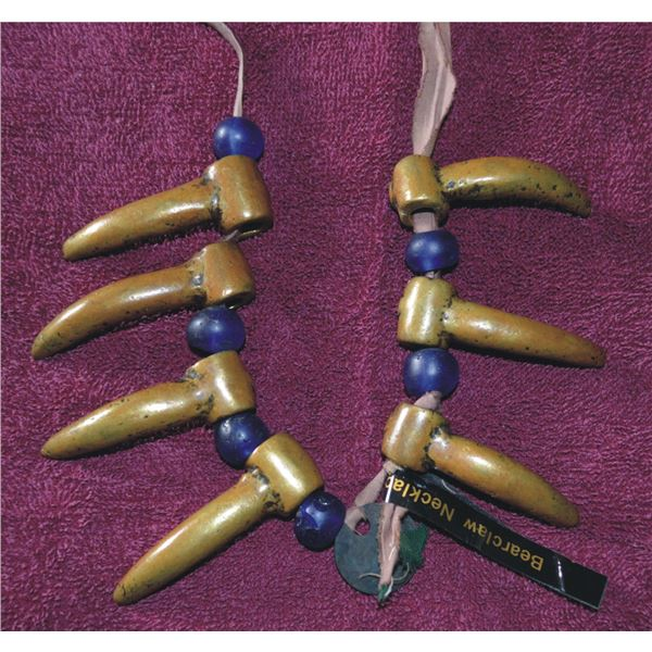 Columbia River brass bear claw and trade beads necklace