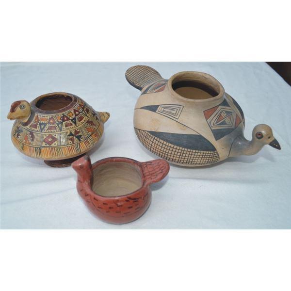 3 smaller bird pottery pieces