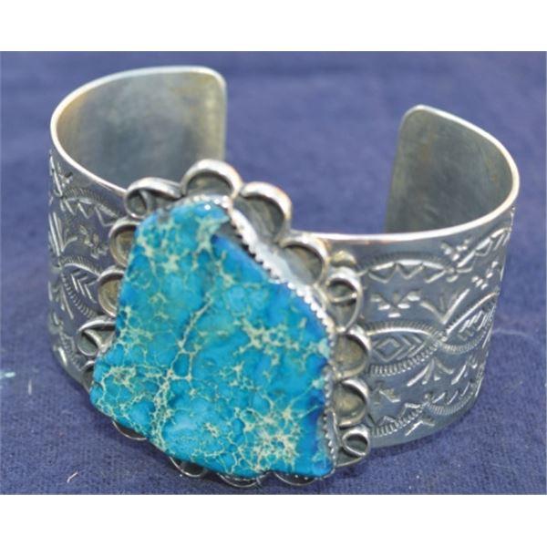 Navajo silver bracelet with jasper