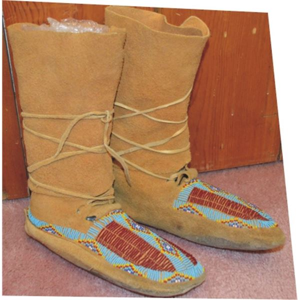 high top beaded moccasins