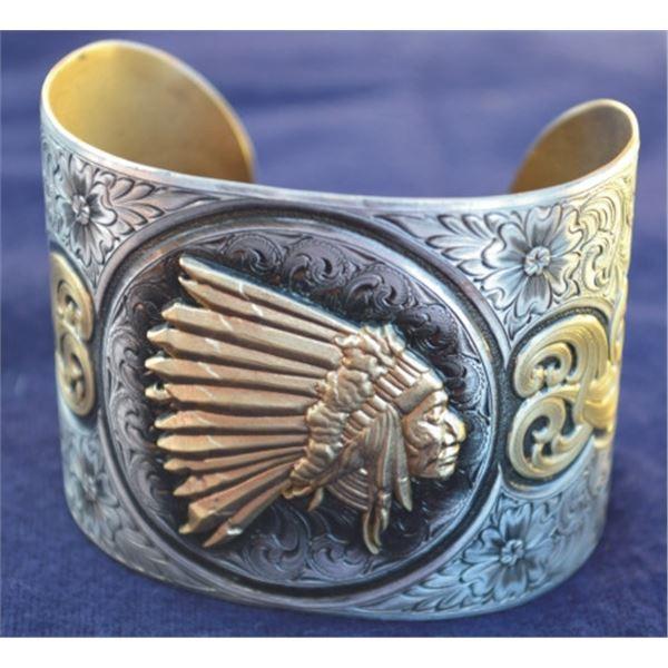 large Indian head silver & bronze bracelet