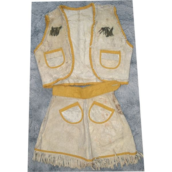 cute buckskin girls outfit with beads