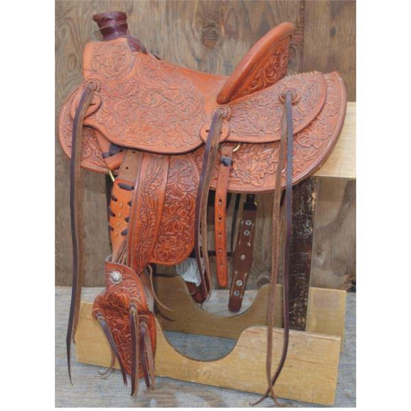 Butte Saddlery, Dorris, CA, full tooled miniature saddle