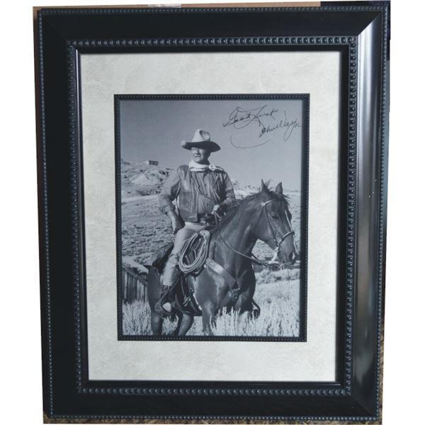 John Wayne movie photo autographed and framed
