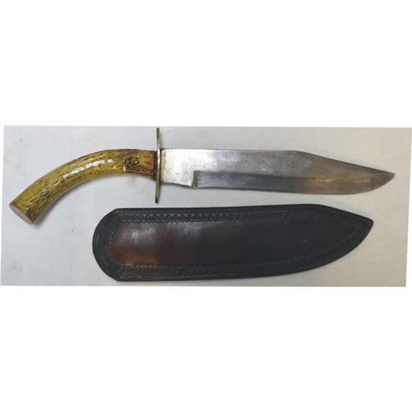 "stag handle 15"" clip blade knife"