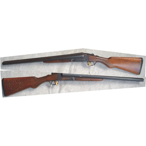 Ithaca 12 ga side by side with tacks in the wood #103722