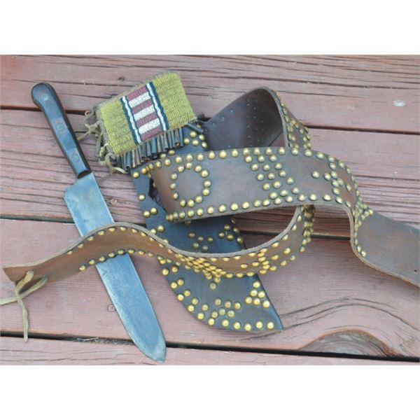 tacked belt and knife scabbard