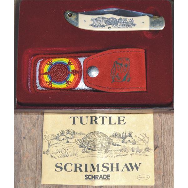 Schrade turtle scrimshaw knife