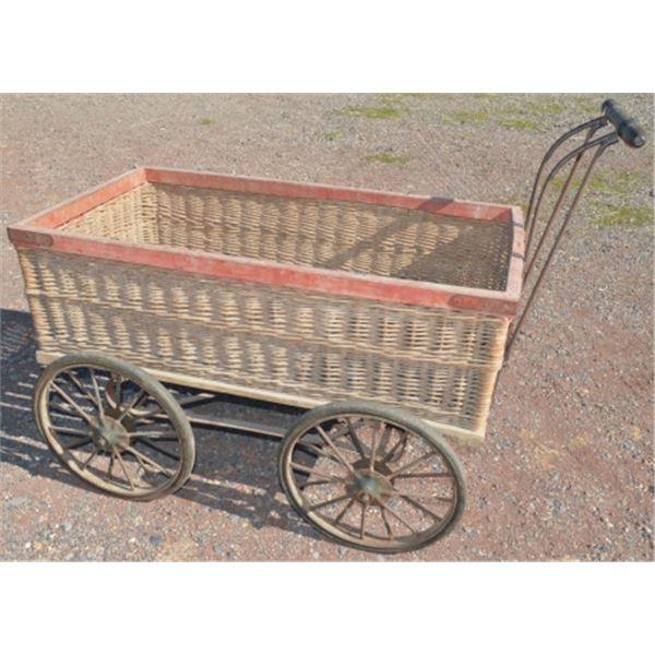 antique wicker peddler's wagon