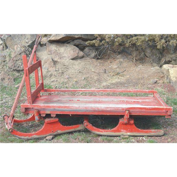 neat miniature antique wooden bob sled