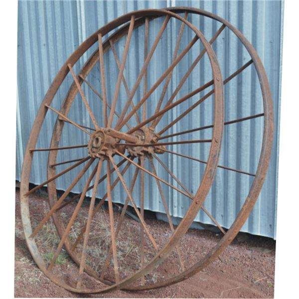 2 antique steel rake wheels