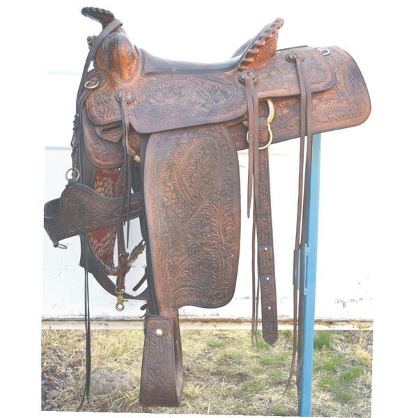 C Mills, Washington, full tooled custom made saddle