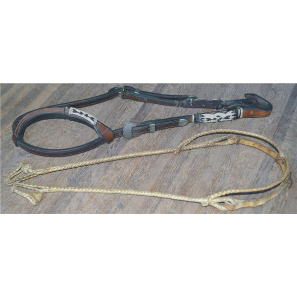 Wage headstall with hitched hair & german silver