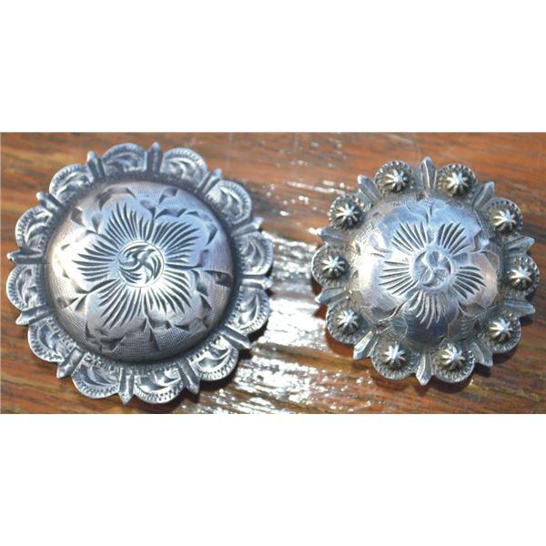 "Vogt 1 ¾"" silver concho & 1 ½"" silver concho"