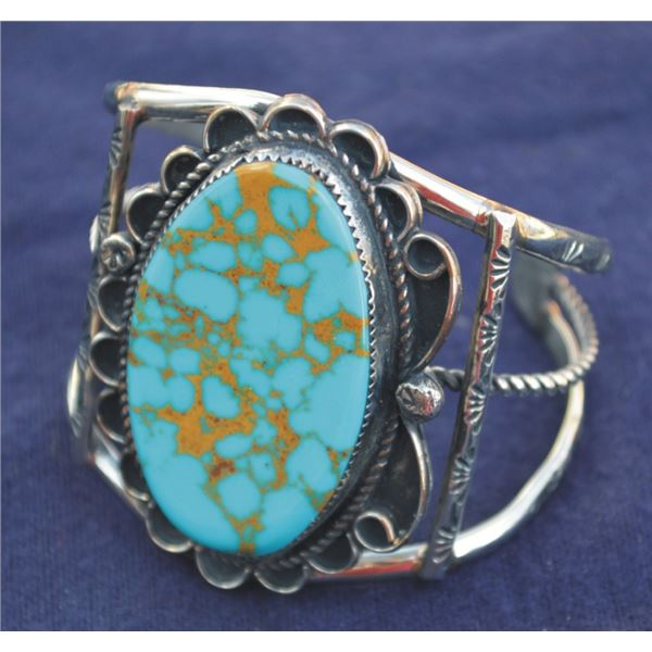 Gilbert Nez silver & turquoise bracelet