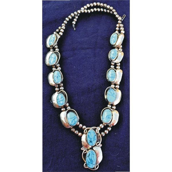 Mexican silver & turquoise squash blossom