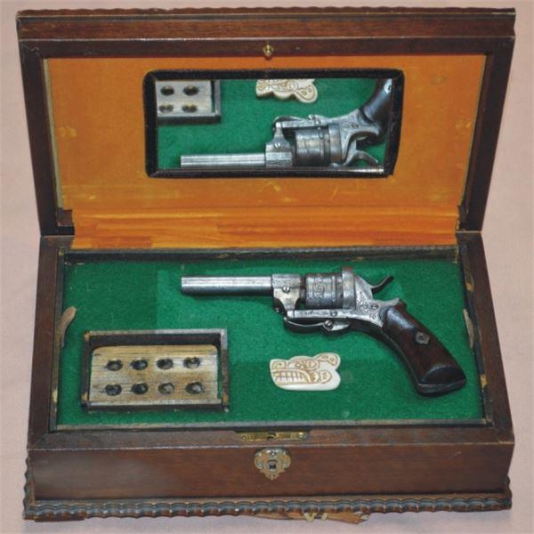 boxed gambler's set has 1869's Belgium .32 pinfire