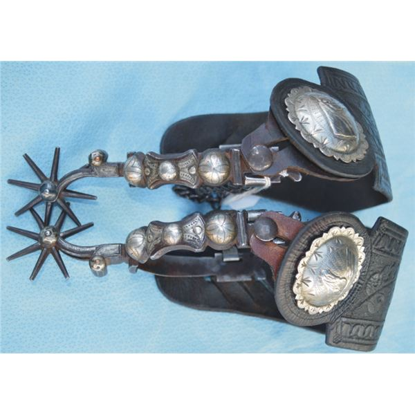 early 1900's silver inlaid double mounted transitional spurs