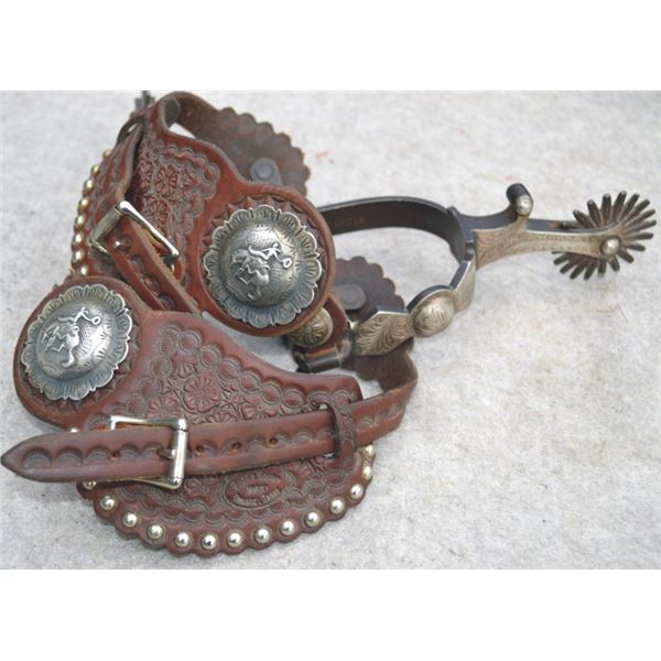 Garcia silver overlaid spurs with silver conchos