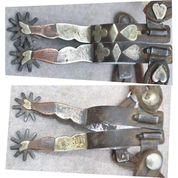 CP Shipley silver & copper card suit & lady leg spurs