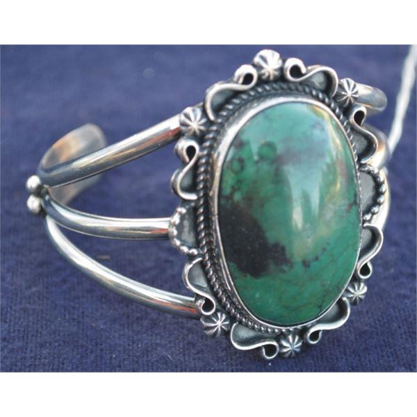 B. Jiminez silver and Fox turquoise bracelet