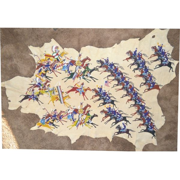 """beaded Sioux battle scene with """"Blue Coats"""""""